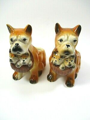 """Two Vintage Ceramic Planters Dog With Puppies 7"""""""