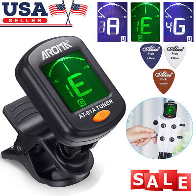 LCD Clip on Digital Chromatic Electric Tuner for Bass, Guitar, Ukulele, Violin