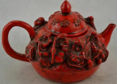 Collection Rare Old Decorated Handwork Red Coral Carving Immortal Flower Tea Pot
