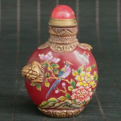 Chinese Exquisite old Beijing Glass Handmade Gilt Snuff Bottle
