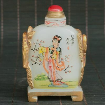 Chinese Exquisite old Beijing Glass Handmade Gilt Beauty Snuff Bottle