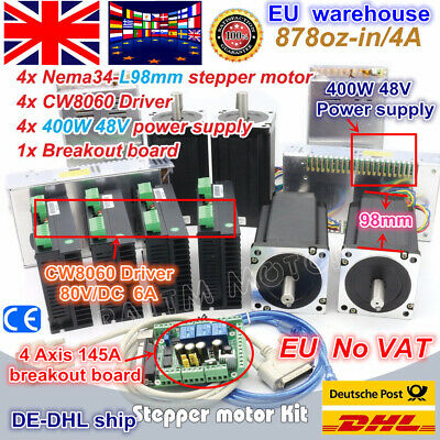 【EU】4 Axis Stepper Motor 98mm 878oz.in+6A Driver 80V+Power Supply NEMA34 CNC Kit