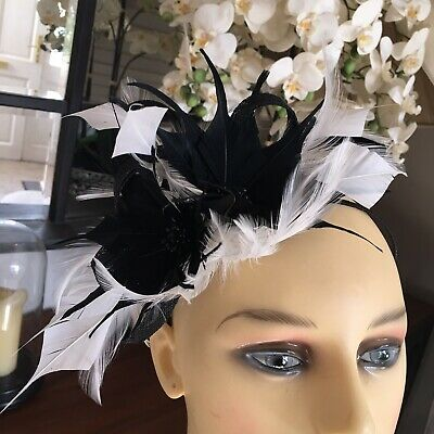 Wedding Hat Fascinator Races 1000 Hats In Stock Black & Ivory Cream Feathered