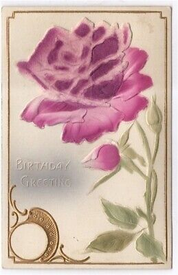 Birthday Greetings Raised Letters and Flowers 1910 Antique Postcard