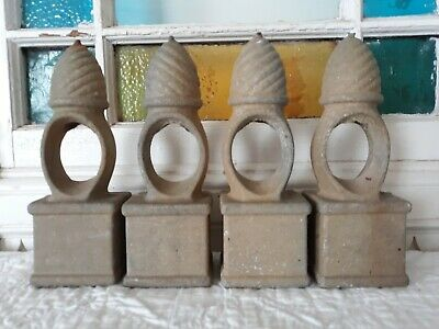 "SET OF 4 VINTAGE CAST IRON FENCE POST SPEAR FINIALS TOPPERS CAP 8 1/4""ni Tall"