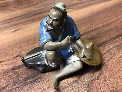 Vintage Chinese Japanese Shiwan Mud Man Glazed Art Pottery Clay Figurine