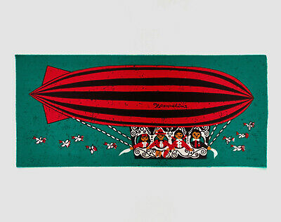 HUGE Vintage Retro Zeppelin / Blimp Teal Fabric Wall Hanging - Signed 1960s