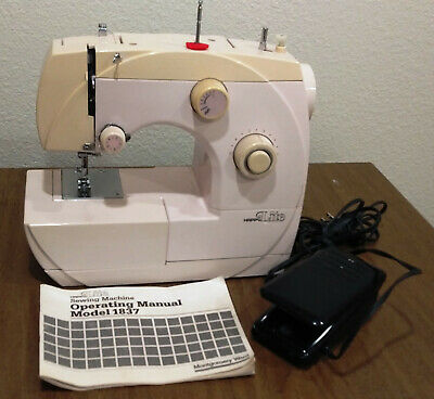 Vtg Mntgry. Ward 3/4 sz Happy LIte 1837 Pink Sewing Machine w/Manual Left Needle