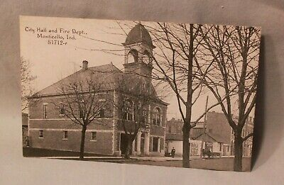 Monticello Indiana Fire Dept City Hall Lake Shafer Freeman Real Picture Postcard