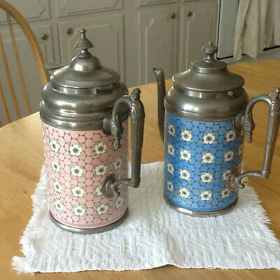 TWO Victorian COFFEE POTS chicken wire & flowers ENAMELWARE with pewter hardware