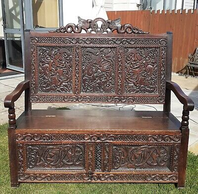 Antique  Edwardian/Victorian Carved Oak Box Settle Monks Bench Hall Seat Chair
