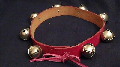 """Victoria Leather Co. Oxblood 22"""" long Leather Jingle Bell Collar"""