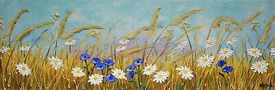 Daisy and Cornflower Painting, Wildflower Meadows Art, Impasto Flower Painting