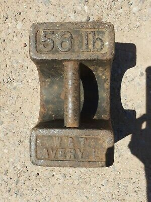Vintage Cast Iron W&T Avery 56lb Weight Market Stall Door Stop Boat