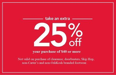 CARTER'S / OSHKOSH 25% off $40+ purchase coupon code (Valid through June 05, 20)