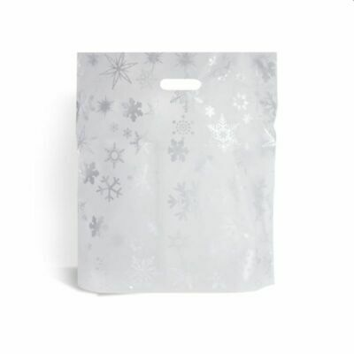 """Silver Snowflake Classic Christmas Carrier Bags 12"""" x 12"""" + 4"""""""