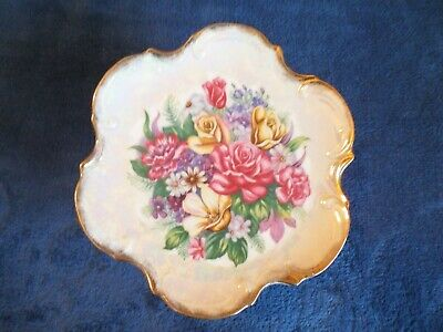 LIPPER & MANN Creations Floral Hologram Pedestal Dessert Serving Plate Gold Rim