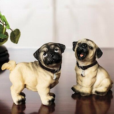 PR PLAYFUL PUGS FIGURINES set/2 DOG PUPPY DELUXE PAIR PUG NEW In Box SET/2
