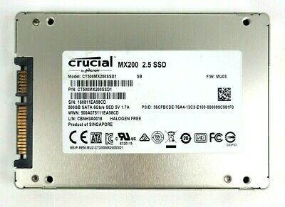 "SSD 2.5"" Crucial MX200 SSD 500GB CT500MX200SSD1 SATA 6Gbs Solid State Drive 7mm"