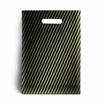"""Black and Gold Stripe Plastic Carrier Bags 9"""" x 11"""""""