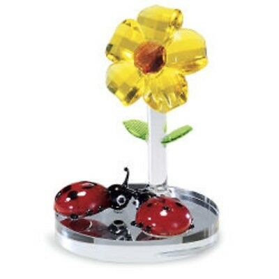 FACETED CRYSTAL YELLOW FLOWER & LADYBUGS FIGURINE ON MIRROR BASE New In Box