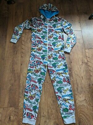 🦸Marvel Hooded Grey All in One, Sleepsuit. Age 11-12, excellent condition 🦸
