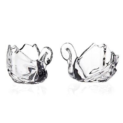 SET/2 CRYSTAL GLASS SWAN VOTIVE CANDLE HOLDER PAIR FIGURINE very deluxe New