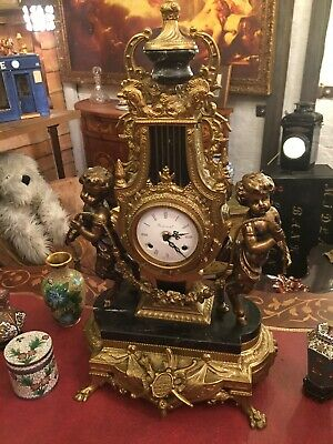 Imperial Franz Hermle Marble And Gilt Brass Mantle Clock Garniture Set