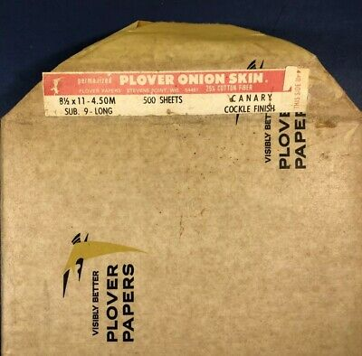 *Nos* Plover-Vintage-Onion Skin Typewriter Paper-500 Sheets (Some Missing)
