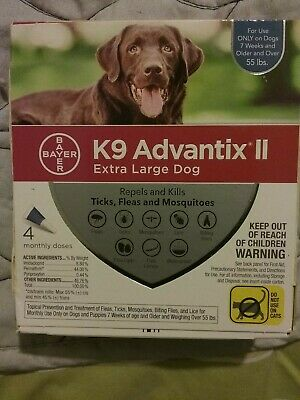 K9 Advantix II for Extra Large Dogs Over 55 lbs - 4 Pack NEW