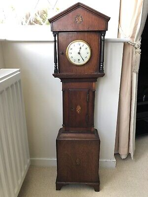 Antique Sheraton Circa 1780 Minature Grandfather Clock Case With Zenith Clock