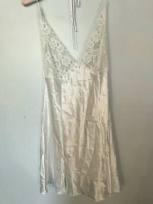 FREDERICK'S OF HOLLYWOOD 44294 Satin Lace Bridal Nightgown Chemise White ~ L