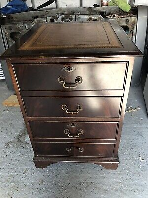 Antique Mahogany 2 Draw Filing Cabinet With Leather Insert