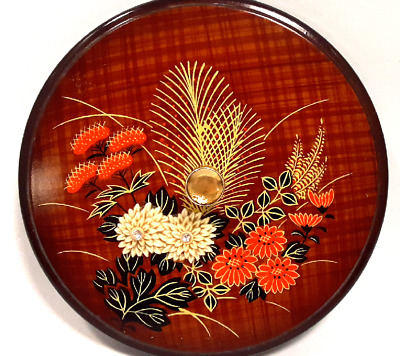 Round Japanese Laquerware Trinket Box w/ Lid Hand Painted Floral Container