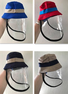 Toddler Bucket Hat with Detachable Face Cover Protective Shield Mask Soft Vinyl