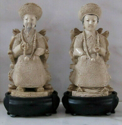 Asian / Chinese EMPORER & EMPRESS Figures in Carved Resin w/Wood Bases FREE SH!
