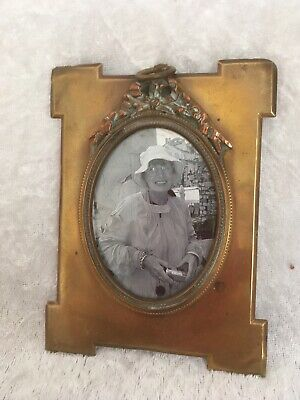 Antique Brass French Hanging Minature Picture Frame With Haning Ring