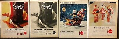 4 Publicités papier Advertising 1961  Coca-Cola 20 cm x 26 cm
