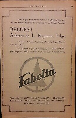 Pub papier Advertising Rayonne belge Vêtements femmes FABELTA 1936 17,5 x 28 cm