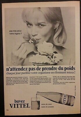 Pub papier Advertising Eau plate VITTEL France 1968 19 x 27 cm