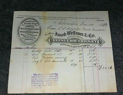 1880 Jacob Wellauer & Co. Cheese, Dairy, Meat, Sardines Letterhead Milwaukee Wis