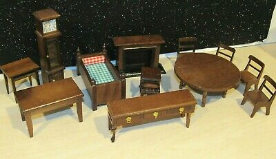 LOT 12 PIECES of VINTAGE/ANTIQUE WOOD DOLLHOUSE FURNITURE PRICE PRODUCTS EUC