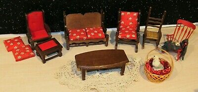 LOT 10 PIECES of VINTAGE/ANTIQUE WOOD DOLLHOUSE FURNITURE PRICE PRODUCTS EUC
