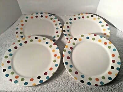 Set of 4 Pier 1 CONFETTI Pattern Dinner Plates 11""