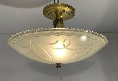 Antique vtg Art Deco 1940's center-post shade brass light fixture rewired