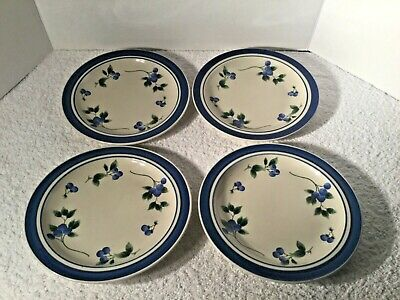 "4 Ll Bean Blueberry 8.5"" Salad / Dessert Plates"