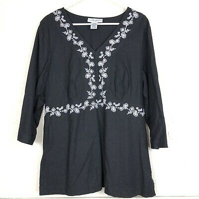 Sag Harbor Linen Tunic Womens Plus Size 1X Black White Embroidered Shirt Blouse