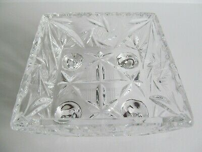 Crystal Glass Bowl Dish 4 inch Square Footed Pinwheel Etched Stars Faceted Vtg
