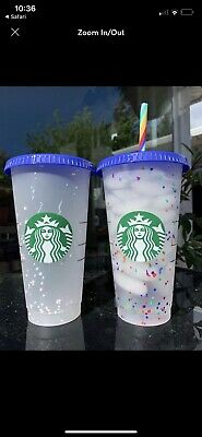 Starbucks Rainbow Confetti Color Changing Cup   Straw Pride Summer 2020 Reusable