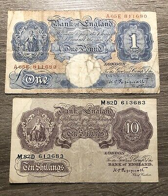 Bank Of England 1949-1955 1 Pound/ 10 Shillings Banknote